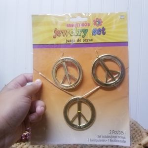 NWT Peace Necklace and Earrings Costume Set